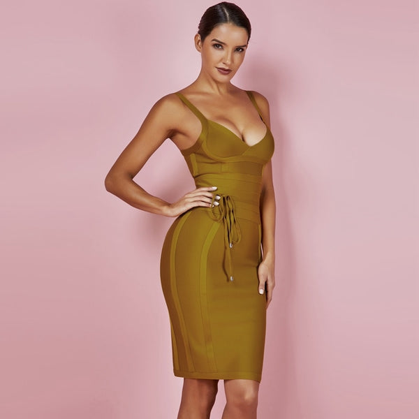 Amanda Bandage Strappy Bodycon Dress in Mustard