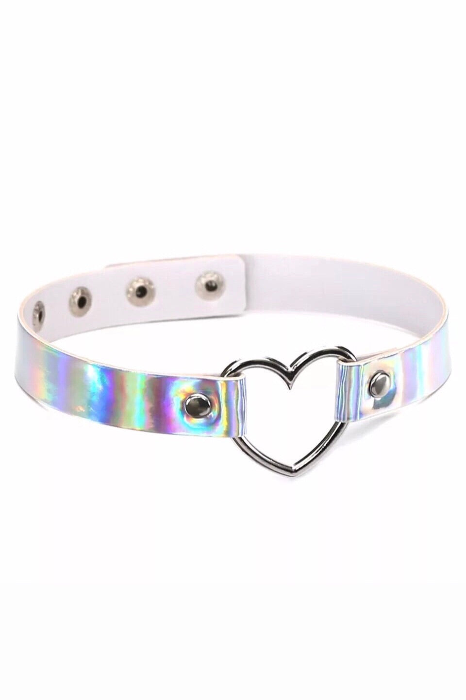 SILVER HOLOGRAPHIC HEART CHOKER