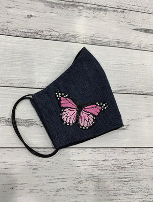 BLUE DENIM MASK - PINK BUTTERFLIES