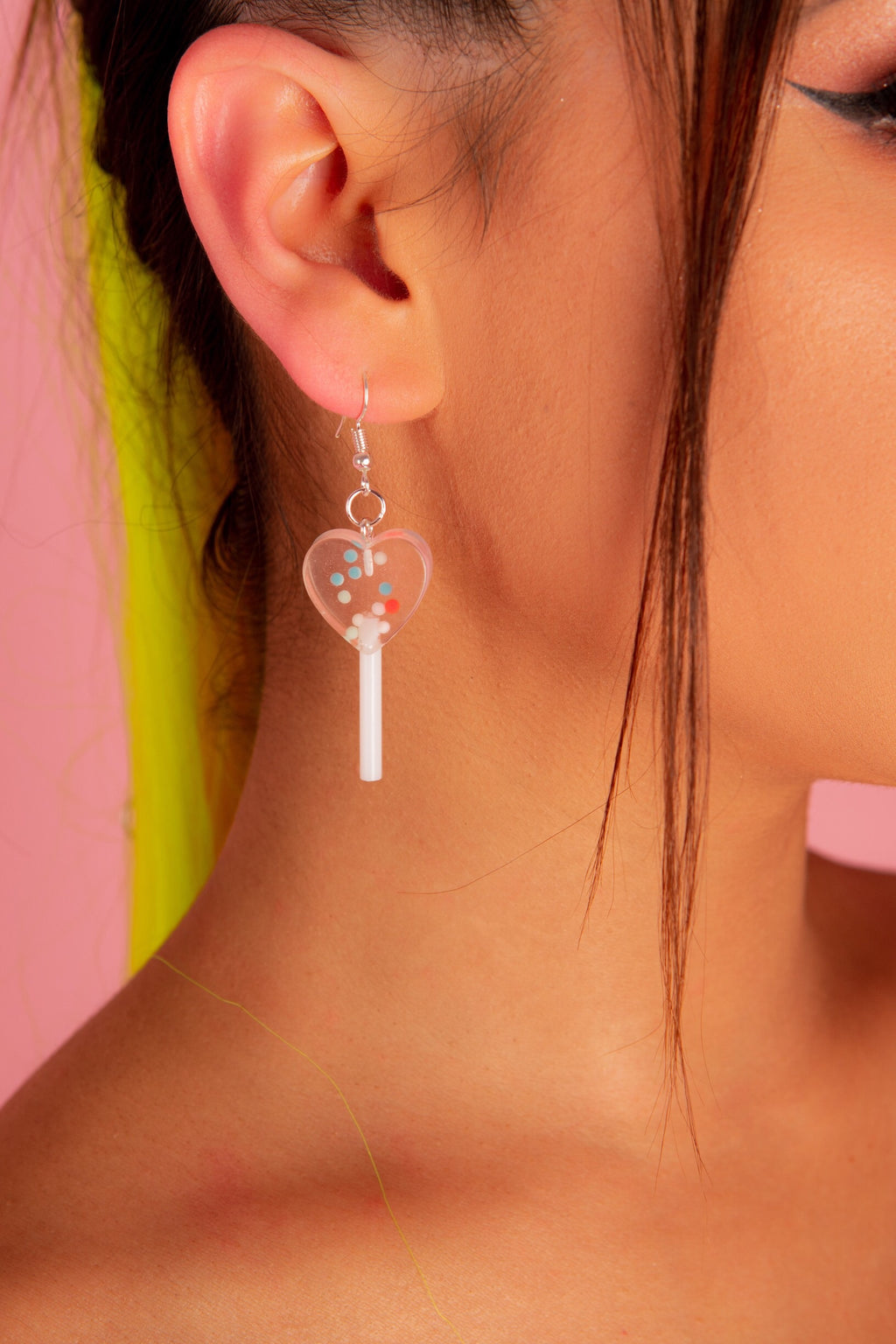LIGHT PINK HEART LOLLY POP EARRINGS