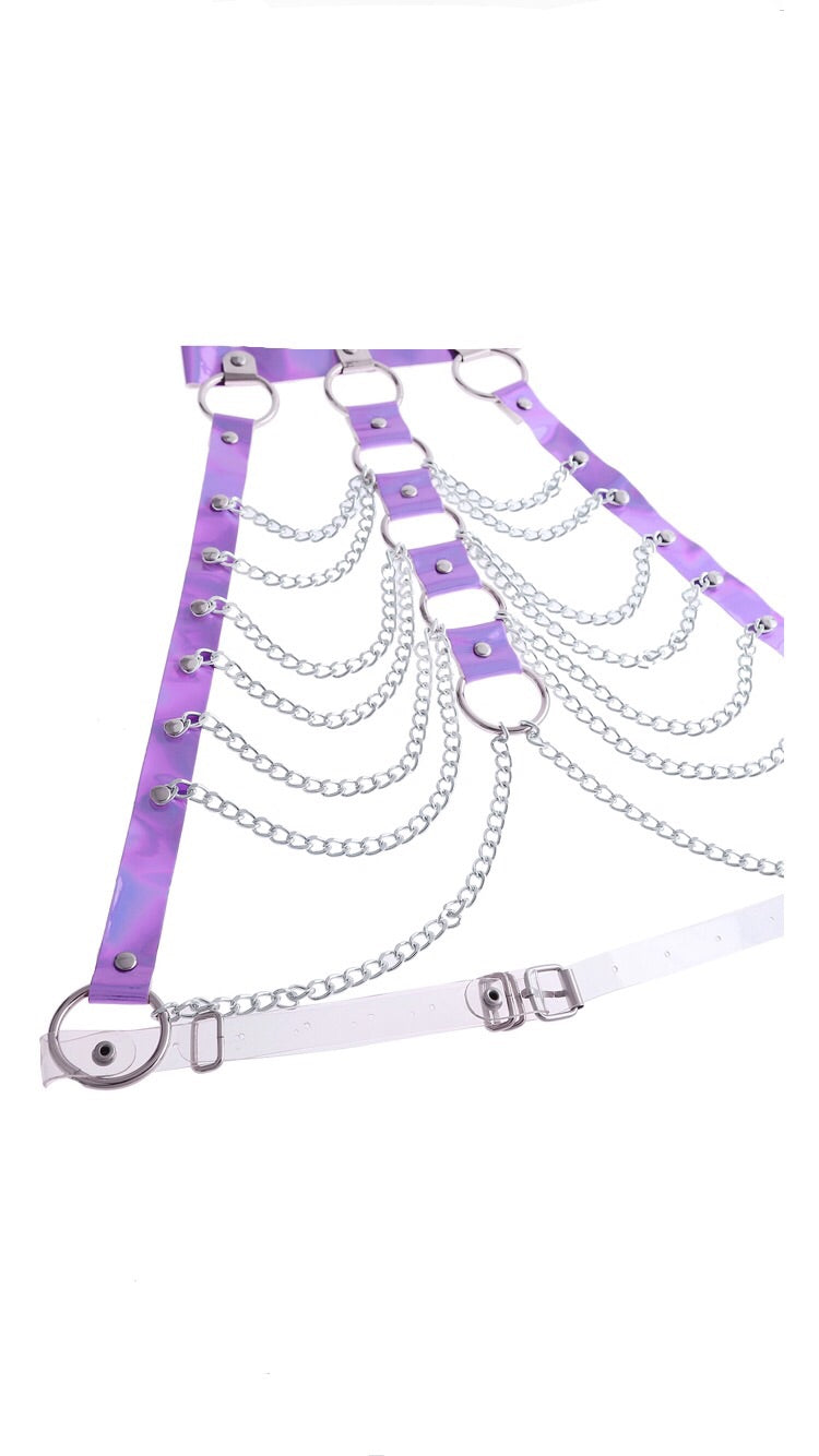 PURPLE HOLOGRAPHIC HALTER CHAIN HARNESS