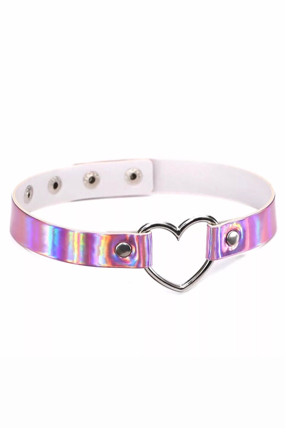 PINK HOLOGRAPHIC HEART CHOKER