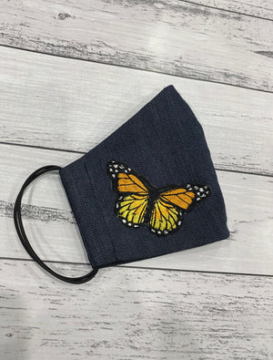 BLUE DENIM MASK - YELLOW BUTTERFLIES