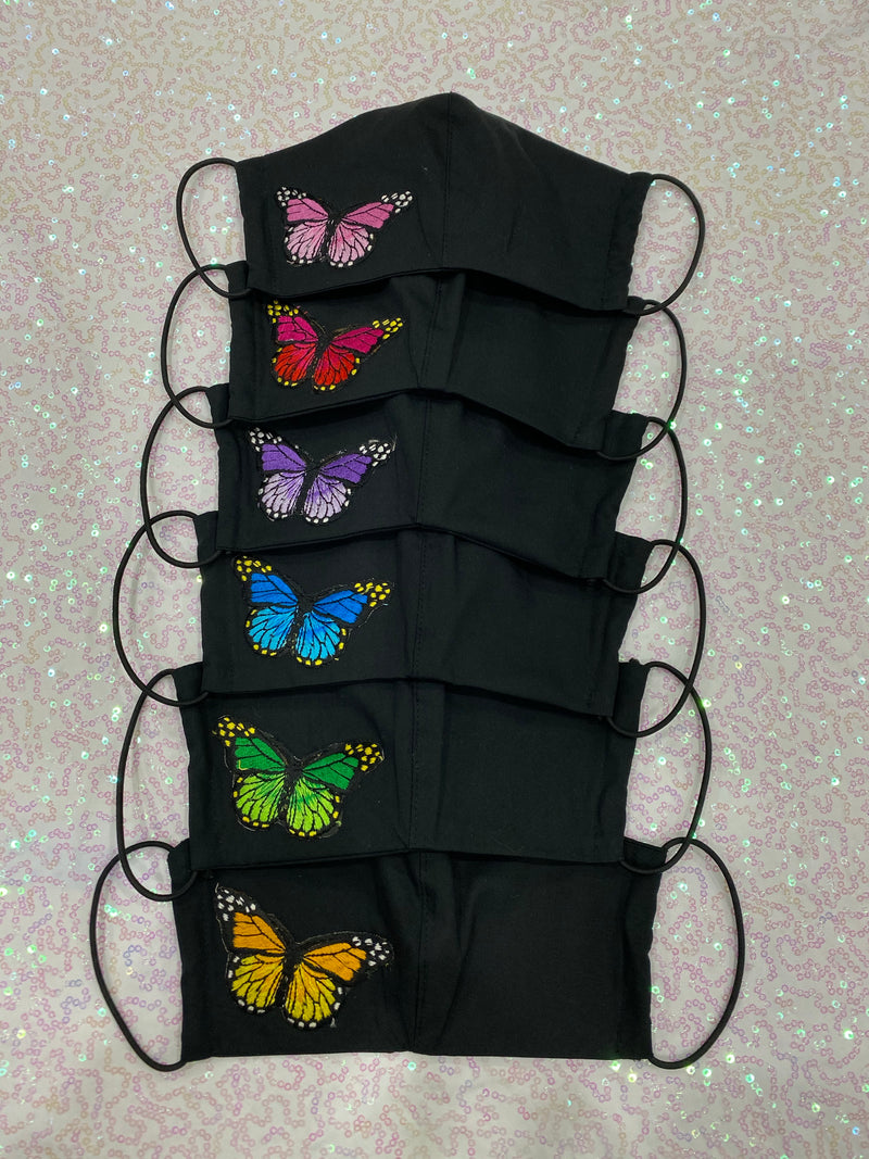 TRIPLE LAYER BLACK MASK - FILTER POCKET (BUTTERFLIES)