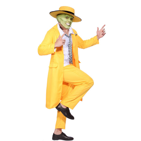 6035df90f6e31 Men 90s Fancy Dress The Mask Jim Carrey Costume Yellow Gangster Zoot Suit  Outfit