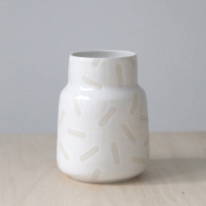 Large White Sprinkle Vase