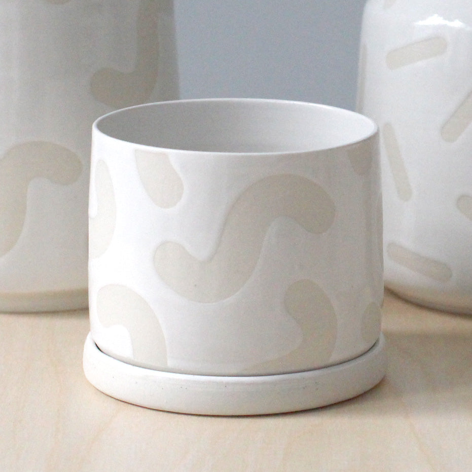 White Noodle Planter and Saucer