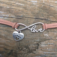 Love * Paw Print * Best Friend * Leather Infinity Bracelet - The Uppity Puppy