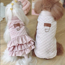 Quilted Winter Dog Coat, Pink or Beige