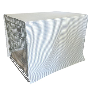 The Uppity Puppy Nautical Blue Ticking Stripe Designer Dog Crate Cover - The Uppity Puppy