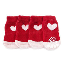 Red Non-Slip Socks with Hearts for Small Dogs
