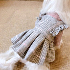 Luxury Plaid Dog Coat Dress with Matching Sweater - The Uppity Puppy
