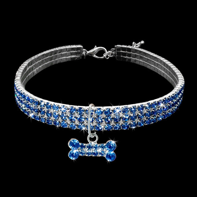 Bit of Bling Crystal Dog Collar with Bone Pendant - The Uppity Puppy
