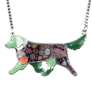 Enamel Golden Retriever Pendant Necklace - The Uppity Puppy