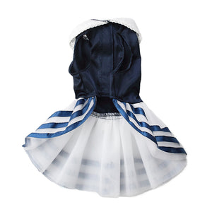 Blue Satin Summer Dog Dress with Ribbon Trimmed Tulle Skirt - The Uppity Puppy