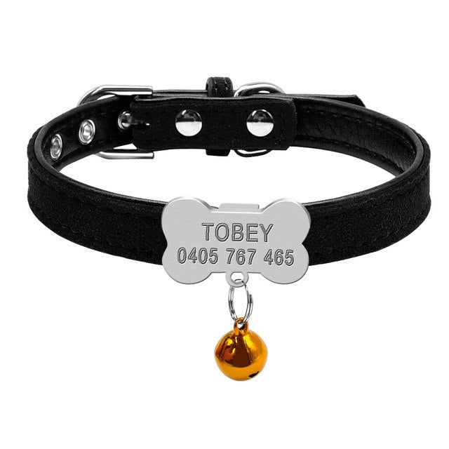 Personalized Bone Soft Suede Dog Collar for Small Dogs - The Uppity Puppy