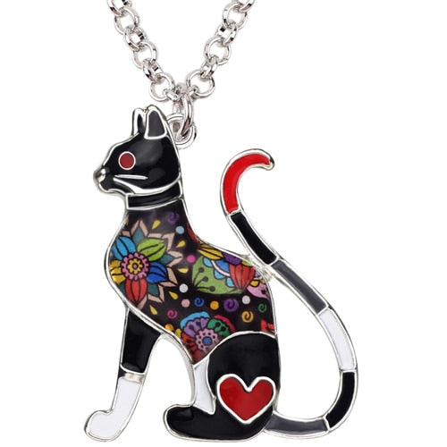 Enamel Kitty Cat Pendant Necklace - The Uppity Puppy