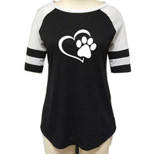 Paw Print & Heart Raglan T-Shirt for Women - The Uppity Puppy