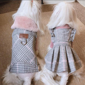 Luxury Winter Plaid Dog Coat With Fur Collar - The Uppity Puppy
