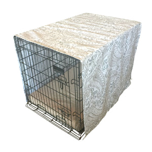 The Uppity Puppy Shannon Ecru Paisley Designer Dog Crate Cover - The Uppity Puppy