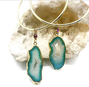 Custom Agate Slice Hoops $65.00