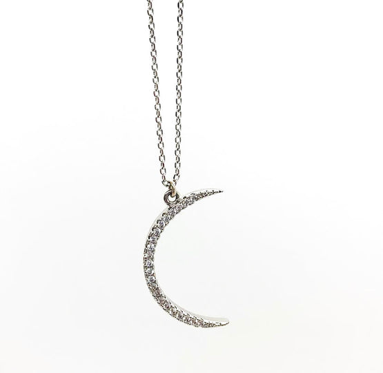 Dainty Silver Moon Necklace