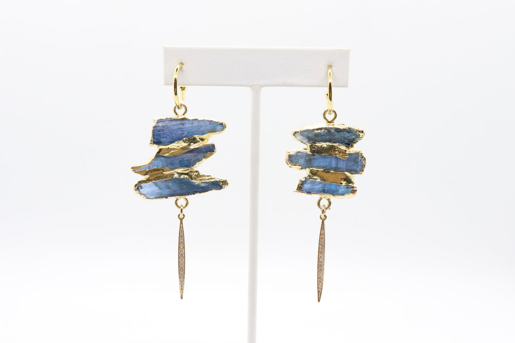 Triple-Stacked Raw Kyanite Earrings