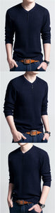 Men's Slim Fit V-Neck Long Sleeve T-Shirt