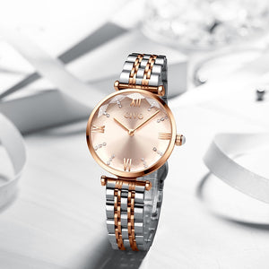 Waterproof Rose Gold Steel Strap Wrist Watches