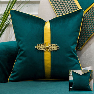Patchwork Velvet Teal Green Cushion Covers