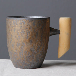 Wooden Handle Ceramic Mug