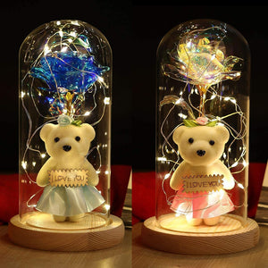 Beauty Rose and Bear with LED Light