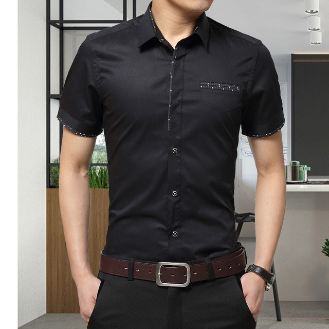Men Cotton Short Sleeves Shirt