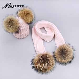 Girl Pompon Hats and Scarves Sets