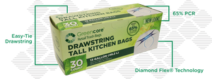 GreenCore 13 gallon trash bags, 6 boxes/CASE