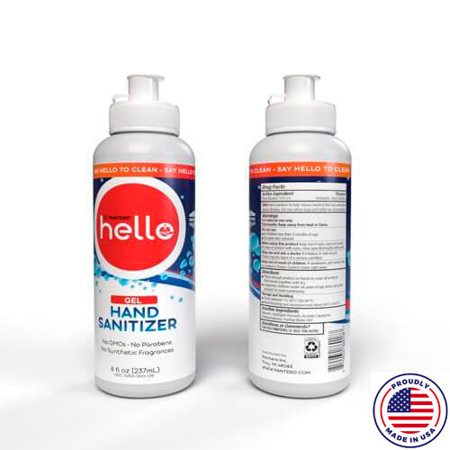 HELLO, Gel Hand Sanitizer, 70% Alcohol, 8 oz Flip Top Bottle - Great Fragrance