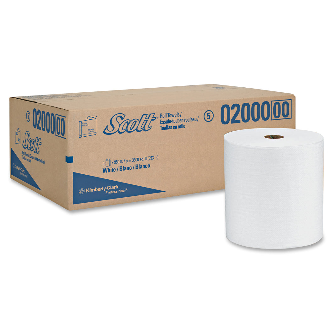 Scott High Capacity Hard Roll Hand Towels, White, 6 - 950' Rolls per Carton
