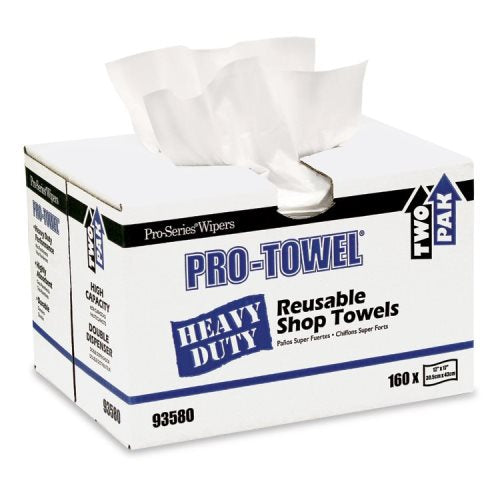 Pro Towel White Heavy Duty Towel 160 sheets per two pack double dispenser box