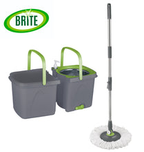 Load image into Gallery viewer, BRITE Spin Mop, Dual bucket, includes 2 machine washable refills