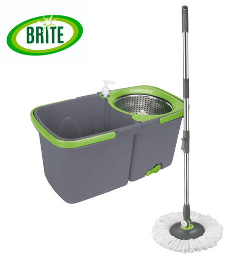 BRITE Spin Mop, Dual bucket, includes 2 machine washable refills.