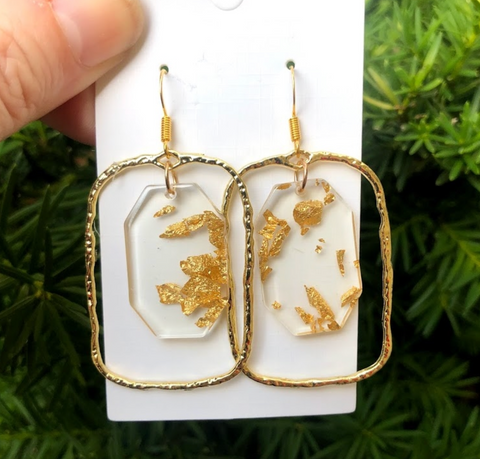 Gold Flake Chandelier Earrings
