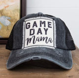 Game Day Mama Pony Tail Hat in Black