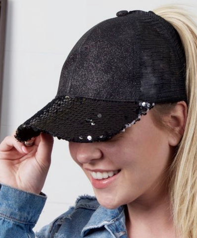 Shimmer Sequin Pony Tail Hat
