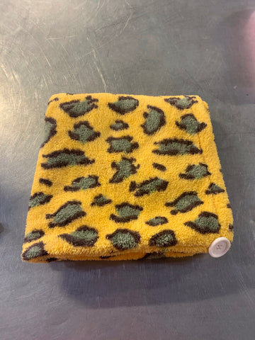 Yellow and Sage Green Leopard Hair Turban