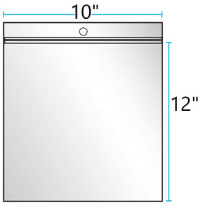 "10""x12"" CLEAR ZIP LOCK WITH HANG HOLE 4Mil"