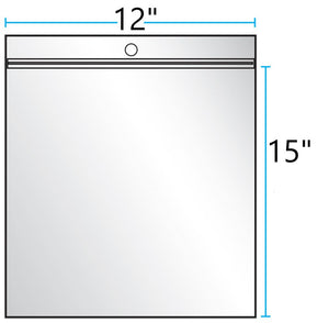 "12""x15"" CLEAR ZIP LOCK WITH HANG HOLE 4Mil"