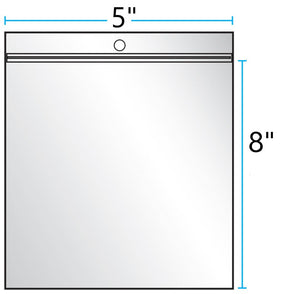 "5""x8"" CLEAR ZIP LOCK WITH HANG HOLE 2Mil"