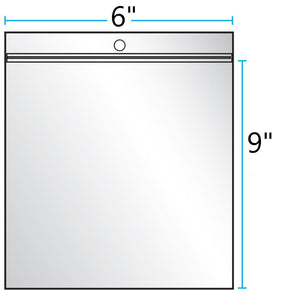 "6""x9"" CLEAR ZIP LOCK WITH HANG HOLE 4Mil"