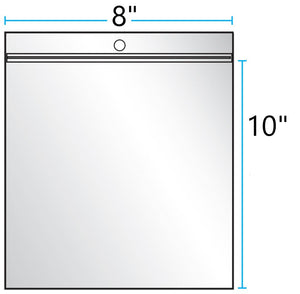 "8""x10"" CLEAR ZIP LOCK WITH HANG HOLE 2Mil"