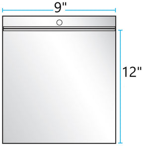 "9""x12"" CLEAR ZIP LOCK WITH HANG HOLE 2Mil"